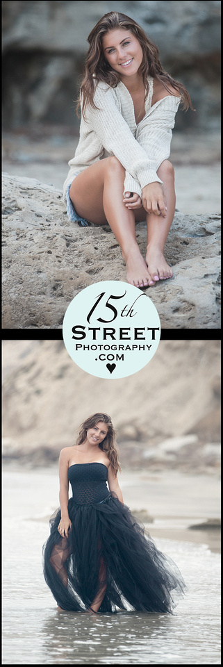 Senior Picture Standing in Waves on Beach Portrait Photographer Southern California