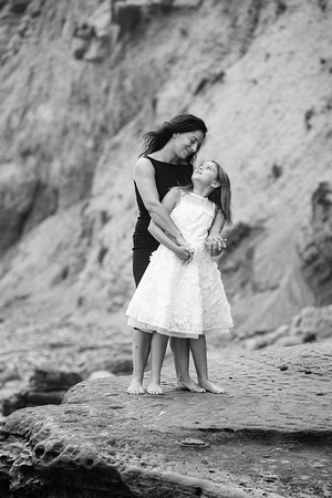 Fine Art Black and White Mother Daughter Portrait La Jolla 15th Street Photography