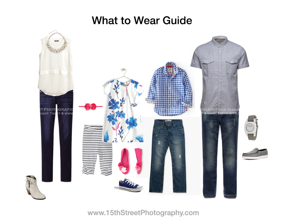 What to Wear Guide for Family Photo Shoot www.15thStreetPhotography.com
